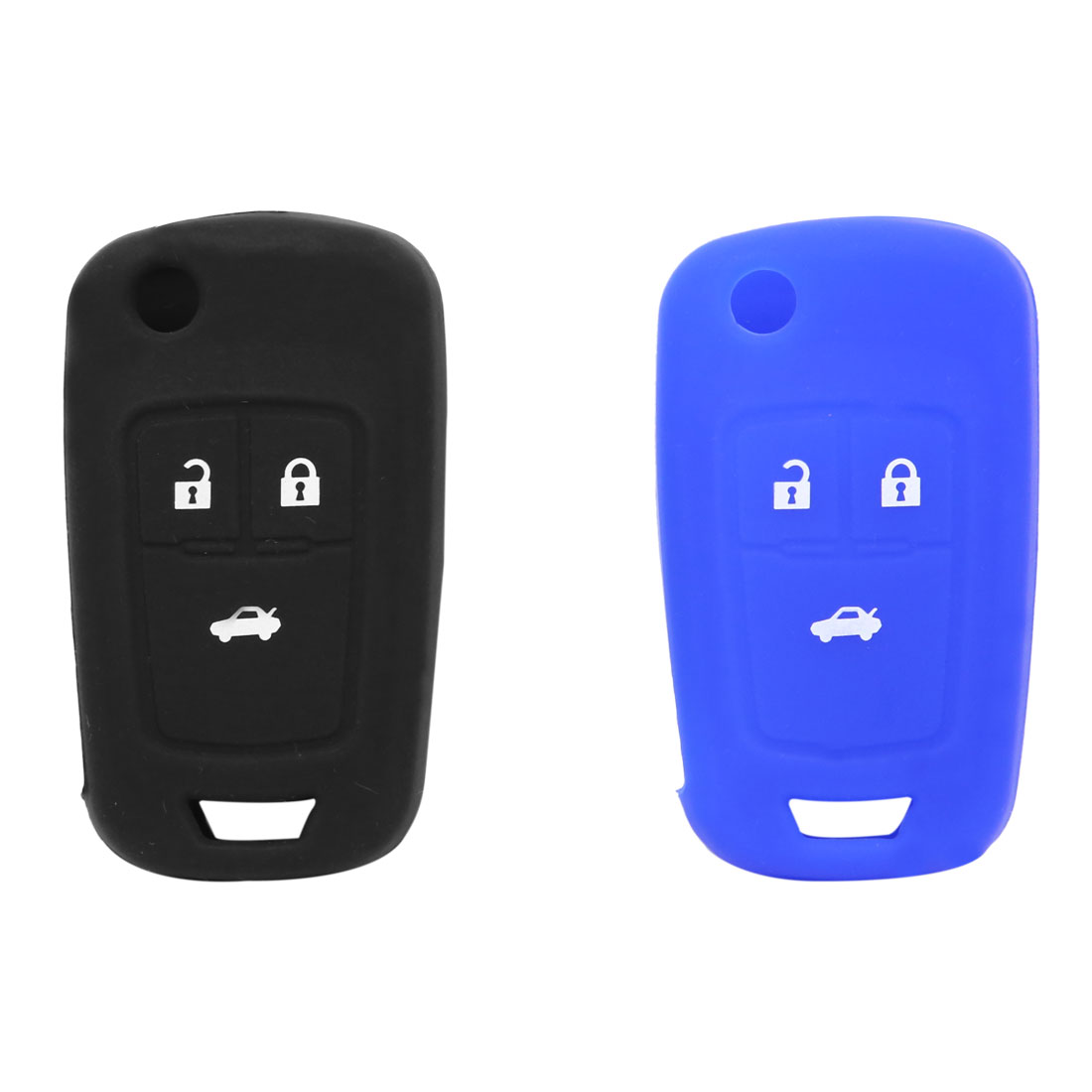 2pcs Blue Black Silicone 3 Btn Remote Key Cover Holder Case Shell for Chevy Cruze - image 1 of 4