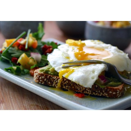 Canvas Print Open Faced Fried Eggs Salad Sandwich Sunny Side Up Stretched Canvas 10 x