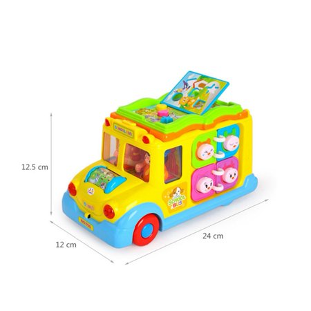 Children Battery Operated Multifunctional Intellectual School Bus, Bump and Go, Music and Light - image 2 of 7