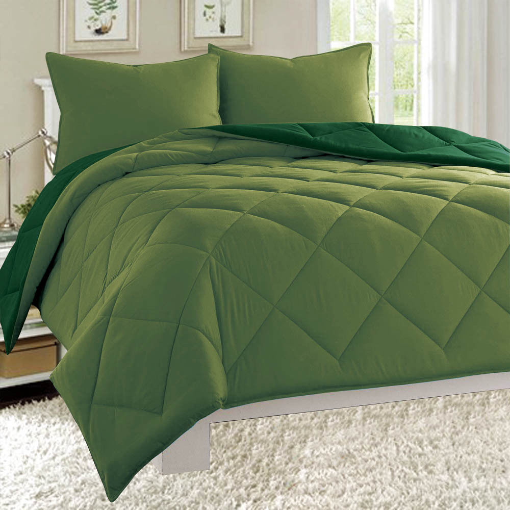 Dayton King Size 3-Piece Reversible Comforter Set Soft Brushed Microfiber Quilted Bed Cover Sage & Hunter Green