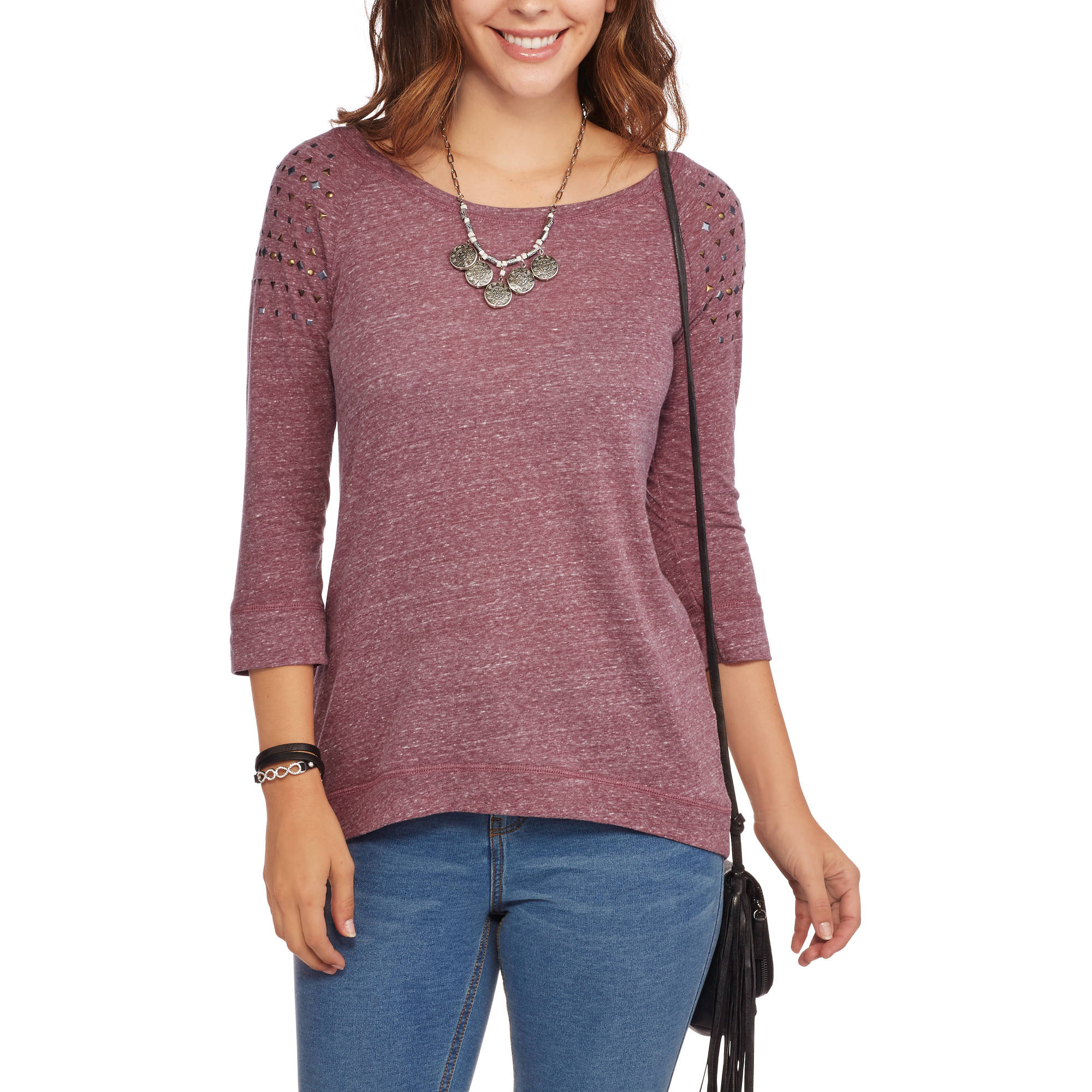 French Laundry Women's Long Sleeve Hi-Lo T-Shirt with Studded Sleeve