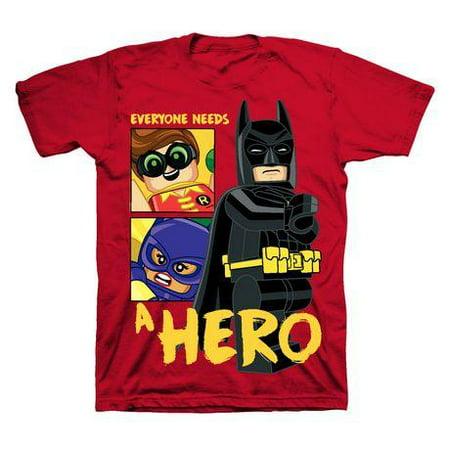 LEGO Batman Everyone Needs A Hero Boys Red T-Shirt - Red Batman