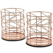 Juvale 2-Pack Rose Gold Metal Wire Pen Holders, Makeup Brush Pencil Cup, 3.5 x 3.5 x 4 Inches