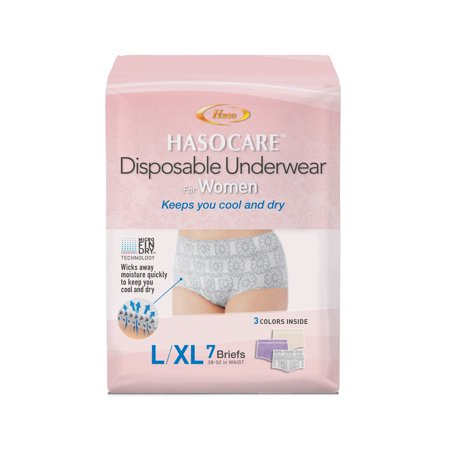 Hasocare disposable briefs (without pad) for women 7 CT,L/XL (38-52 in. waist)
