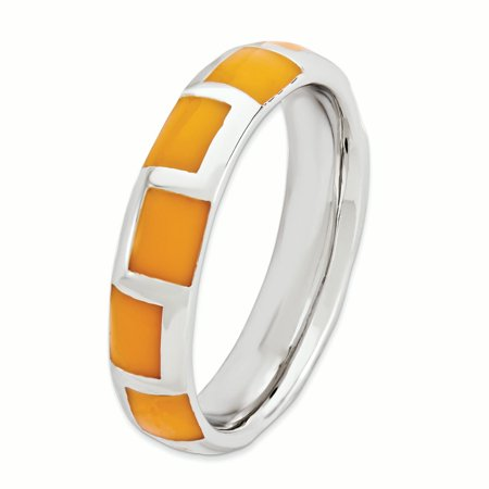 925 Sterling Silver Orange Enameled Band Ring Size 9.00 Stackable Ed Fine Jewelry For Women Gifts For Her - image 3 of 7