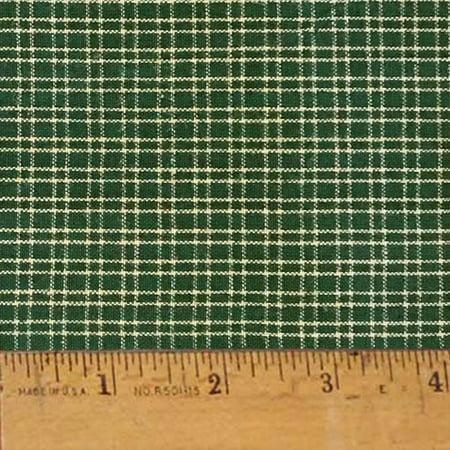 Primitive Green 1 Plaid Homespun Cotton Fabric Sold by the Yard - JCS Fabric