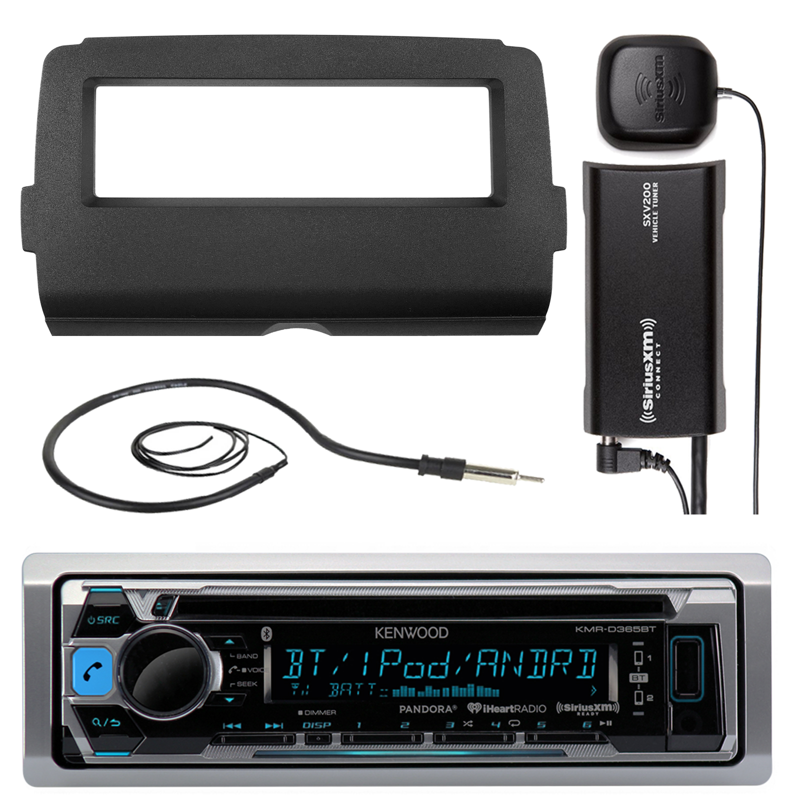 """Audio Bundle For 2014 and Up Harley - Kenwood KMRD372BT Marine CD MP3 Bluetooth Stereo Receiver Combo With Dash Installation Kit for Motorcycles, SiriusXM Radio Tuner, Enrock 22"""" Wired AM/FM Antenna"""