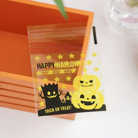 KABOER 100Pcs/Pack Halloween Pumpkin Hat Elf Gift Bag Candy Bag Plastic Jewelry