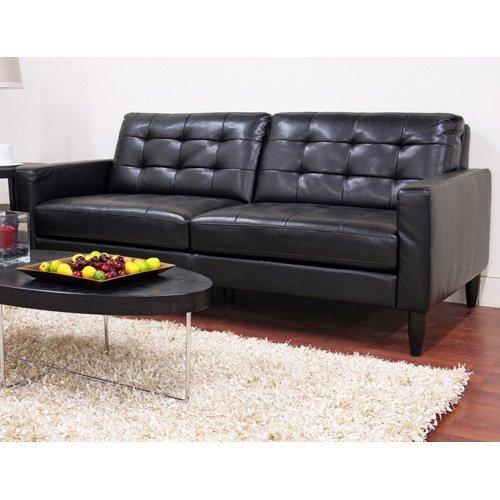 Baxton Studio Caledonia Black Leather Sofa