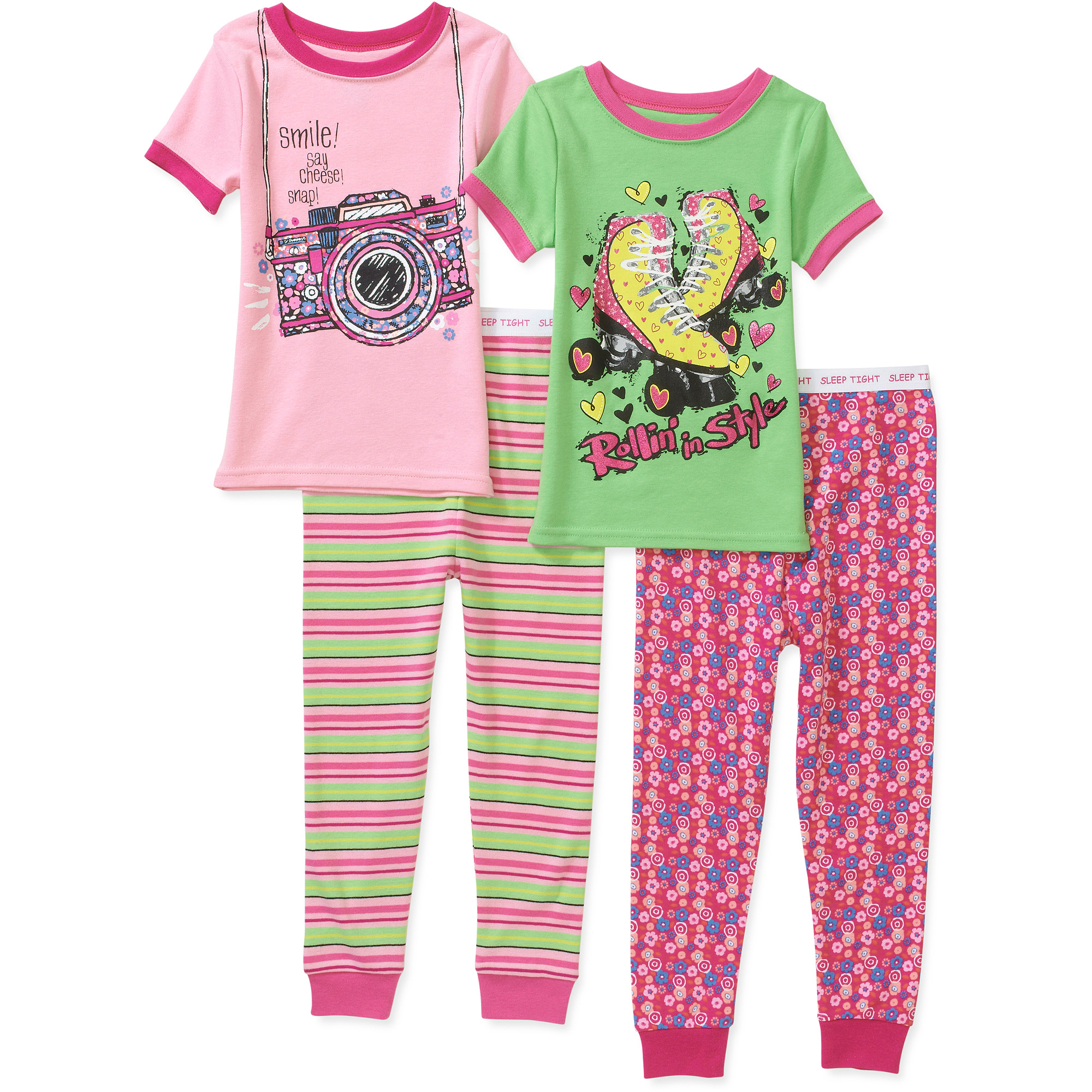 Faded Glory Baby Girls' 4 Piece Tight Fit Cotton PJ Set