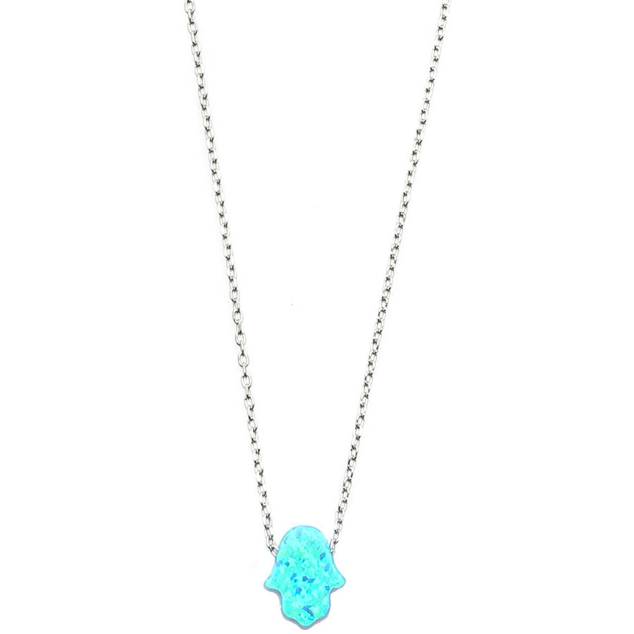 A&M Sterling Silver Opal Light Blue Hamsa Charm Necklace by Generic