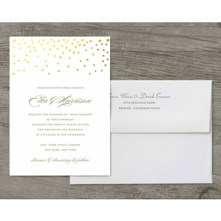 Dot Border Invitation (Gold Dots Deluxe Wedding)