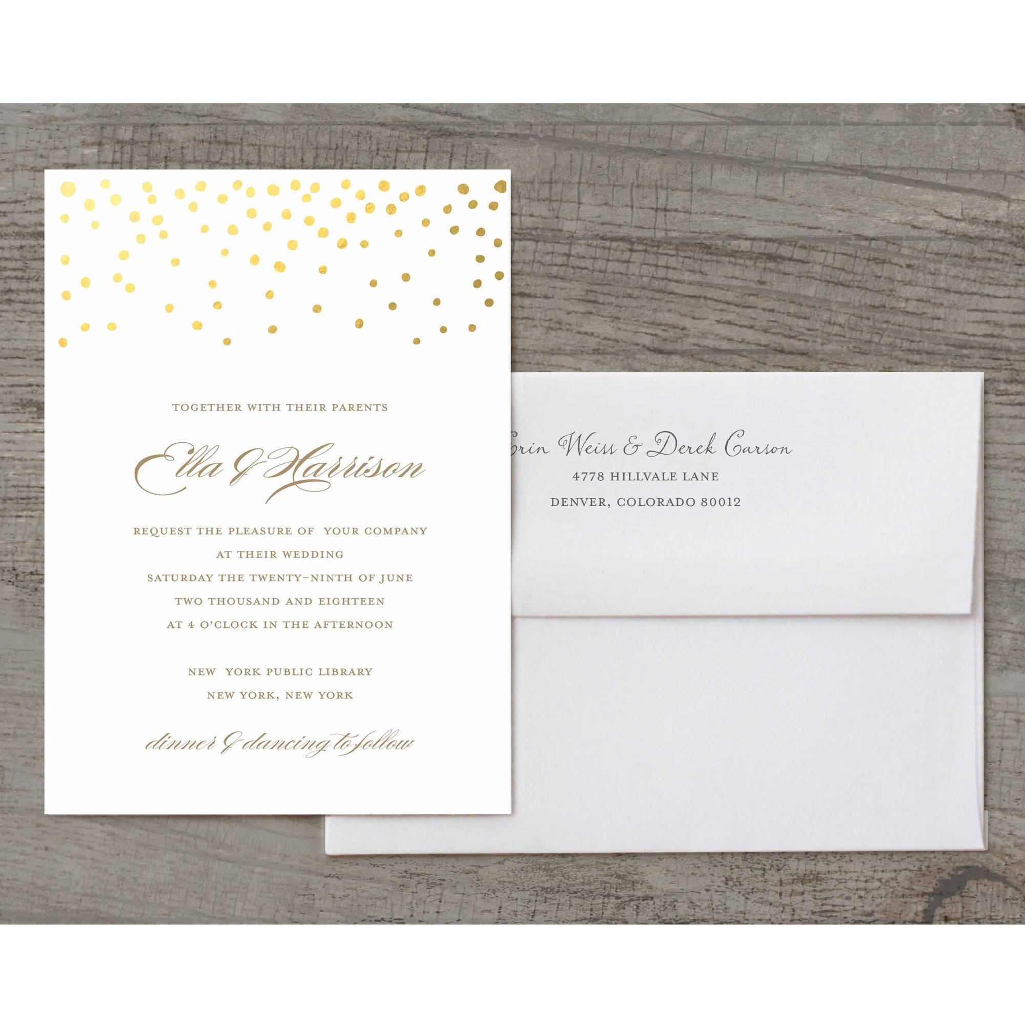 Gold Dots Deluxe Wedding Invitation