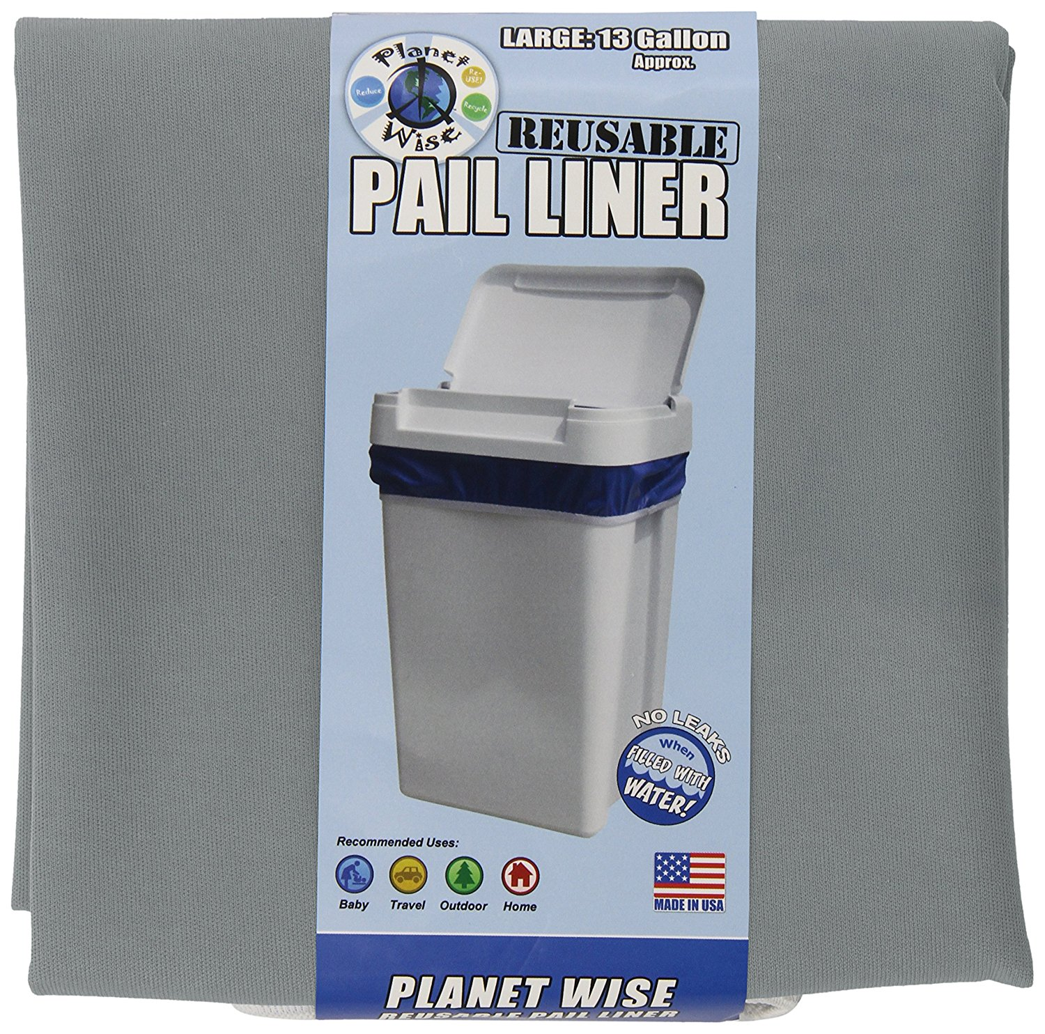 Reusable Diaper Pail Liner, Slate, USA, Brand Planet Wise