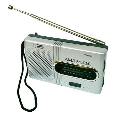 BC-R21 Mini Radio Portable AM FM Telescopic Antenna Pocket Radio World Receiver Speaker Battery