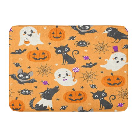 KDAGR Blackcat Halloween Cute Pumpkins Ghosts Black Cat Bats Raven Skin Walker and Sweets on Orange Candy Doormat Floor Rug Bath Mat 23.6x15.7 inch