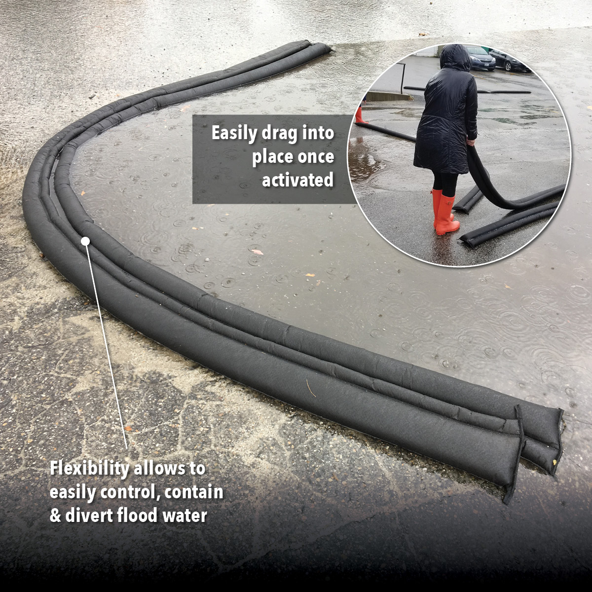 Black 5-ft Quick Dam QD65-1 Water-Activated Flood Barrier-5 Feet-1//Pack