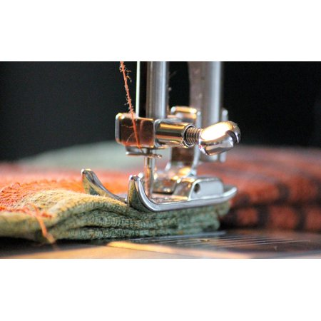Canvas Print Foot Sew Thread Coiled Yarn Sewing Machine Stretched Canvas 32 x