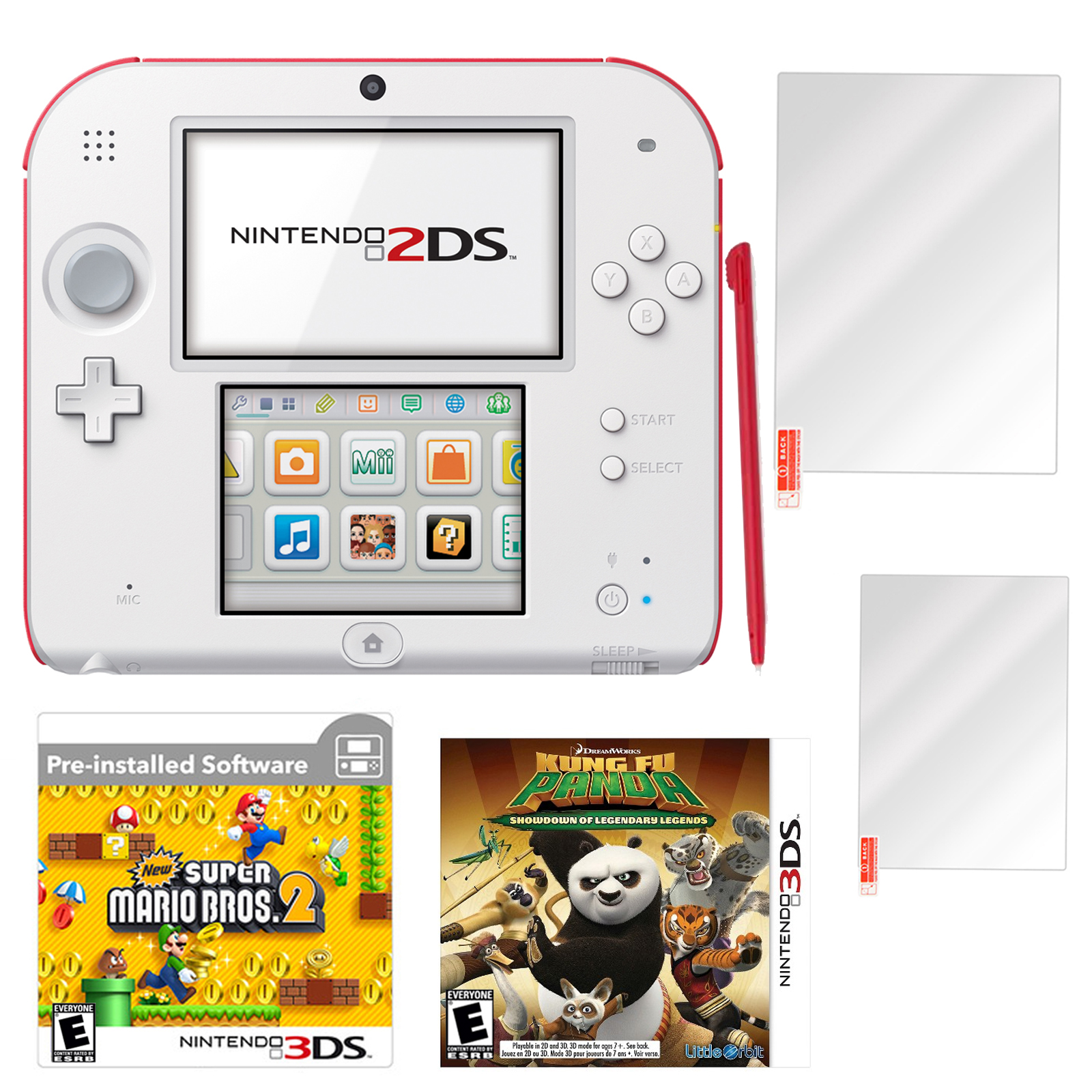 2DS Super Mario Bros 2 Scarlet Red with Kung Fu Panda and Screen Protector