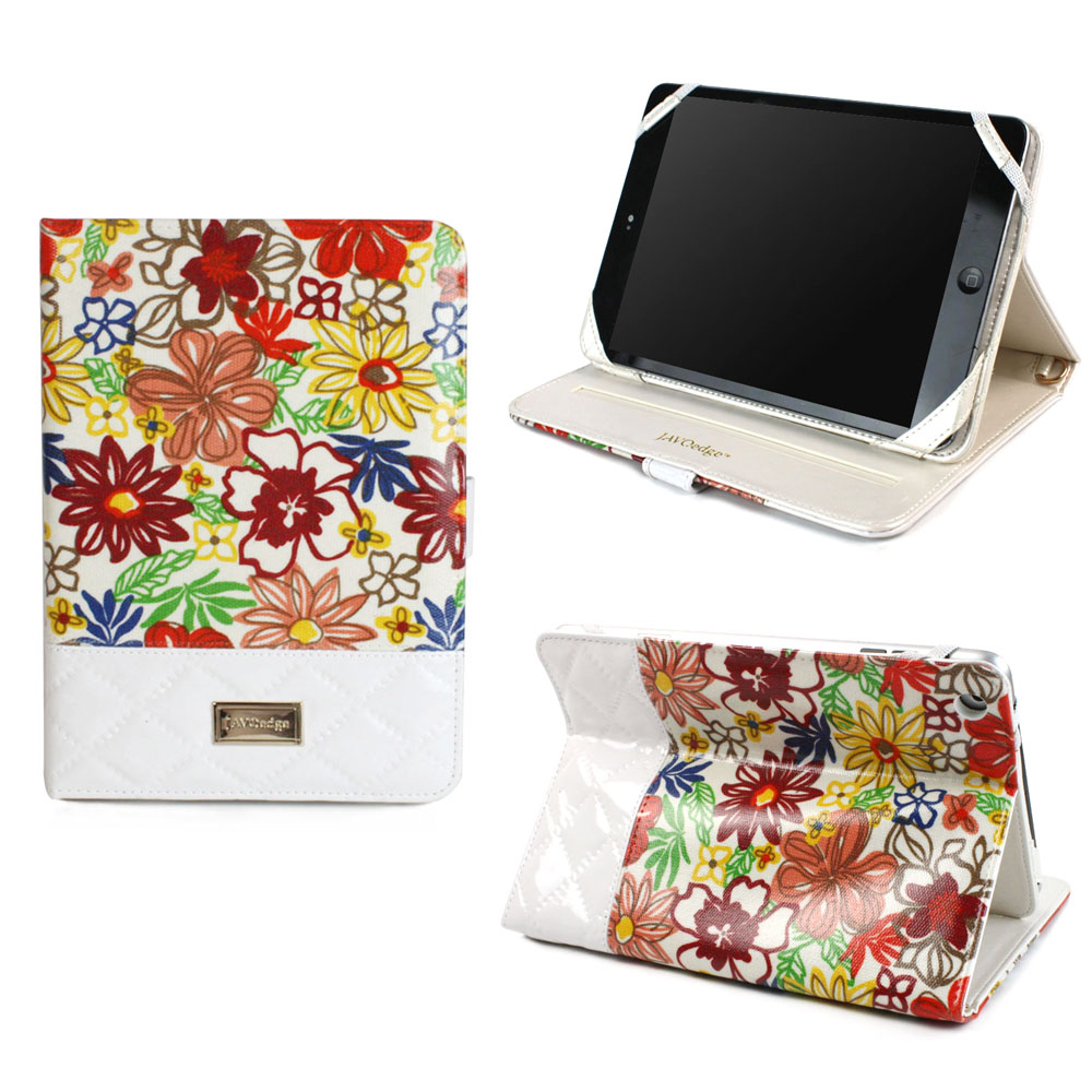 JAVOedge Quilted Spring Blossom Folio Case with Snap Closure, Angled Stand, and Wristlet for Apple iPad Mini, Mini 2