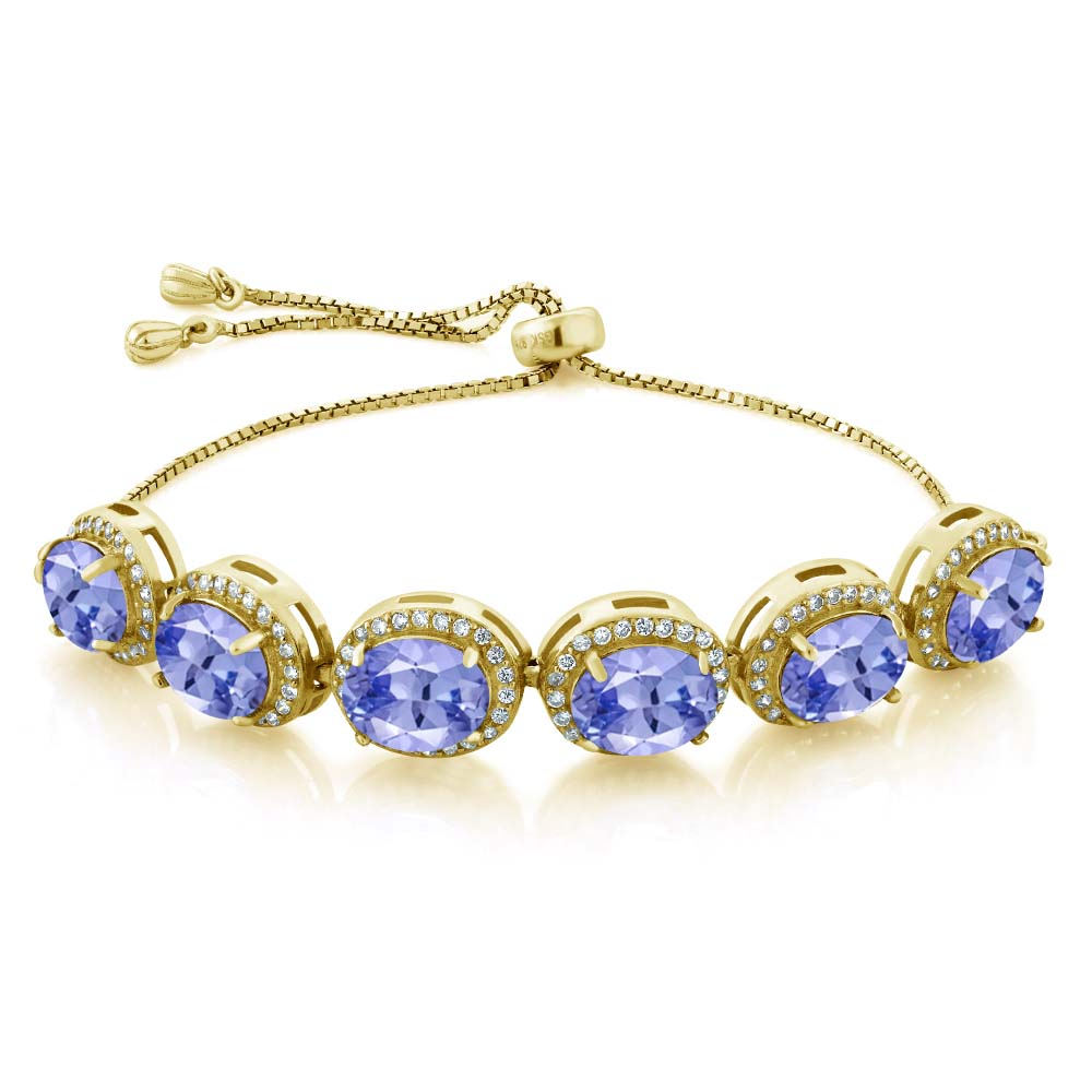 11.18 Ct Oval Blue Tanzanite AAAA 18K Yellow Gold Plated Silver Bracelet by
