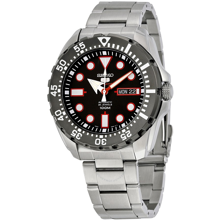 Seiko 5 Sports Automatic Black Dial Stainless Steel Mens ...