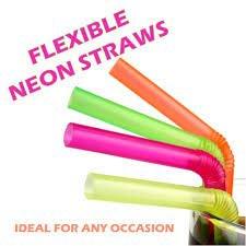 240 Neon Straws with Longer Flex Bend - Plastic