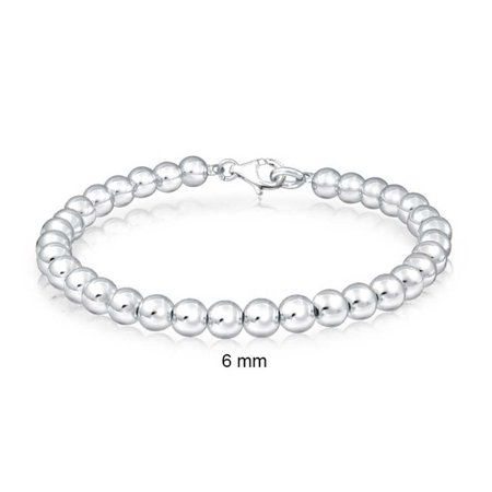 Simple Beaded Bracelets - Simple Basic Round Stackable 925 Sterling Silver Bead Ball Strand Bracelet For Women For Teen 6MM
