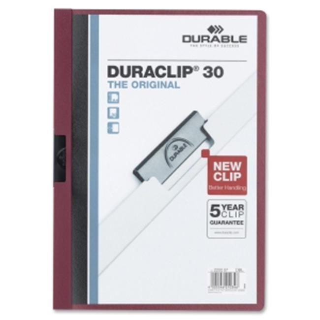 Durable Office Products 220331 Vinyl Duraclip Report Cover, Clear & Maroon