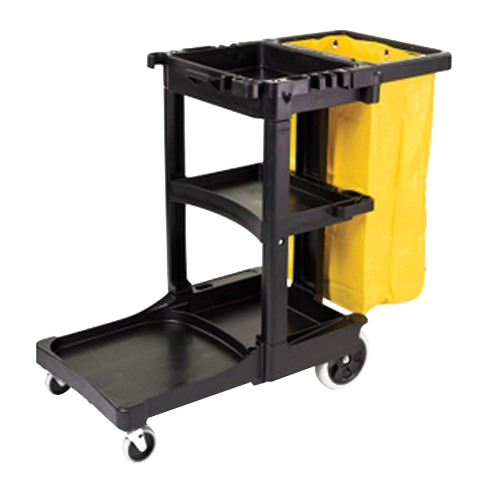 "Rubbermaid Vinyl Bag Cleaning Cart with Zippered Bag Black, Yellow Bag, 46"" Length x 21.8"" Width x 38.4"" Height 