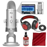 Blue Microphones Yeti Studio USB Microphone All-In-One Professional Recording System for Vocals with Samson Headphones and Accessory Bundle