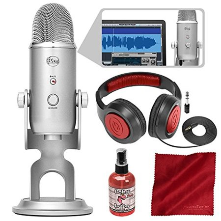 - Blue Microphones Yeti Studio USB Microphone All-In-One Professional Recording System for Vocals with Samson Headphones and Accessory Bundle
