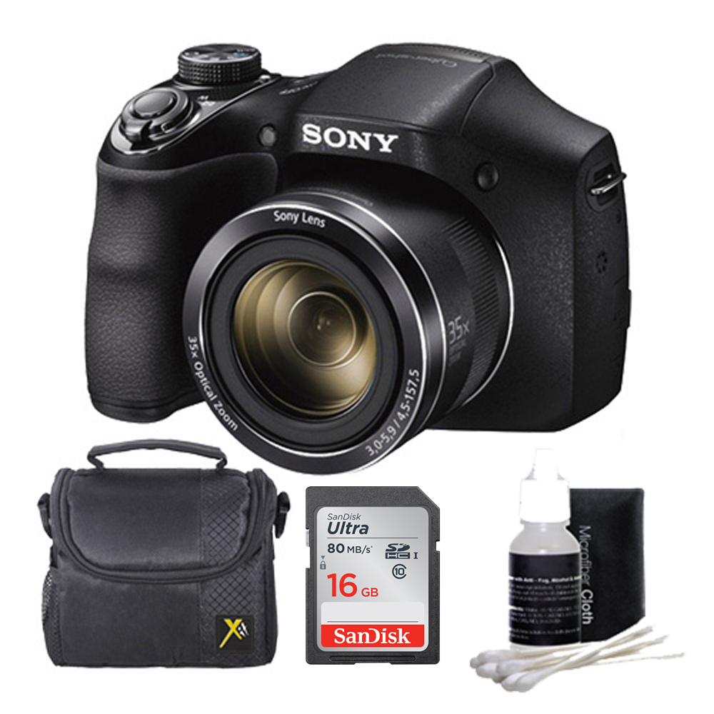 Sony DSC-H300/B DSCH300 H300 H300B DSCH300/B Digital Camera (Black) Bundle with 16GB Ultra SDHC UHS Class 10 Memory Card, Padded Case, Lens Cleaning Kit