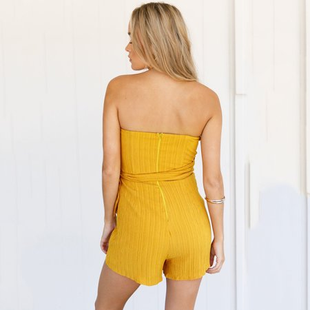 Women Off Shoulder Playsuit Tie Waist Back Zipper Sleeveless Asymmetric Jumpsuit Romper Bodysuit - image 1 de 7