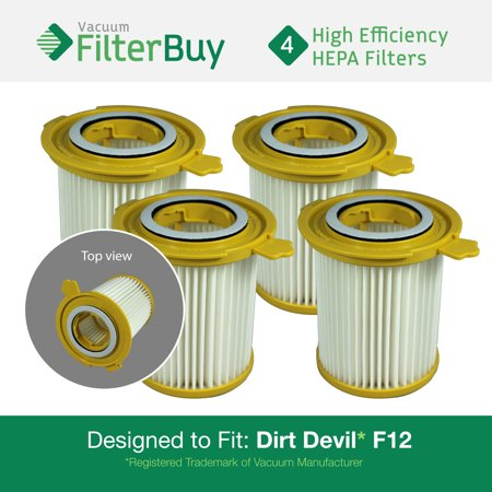 Dirt Devil F12 Filter - 4 - Dirt Devil F-12 (F12) HEPA Replacement Filters, Part # 3KD1680000 (3-KD1680-000).  Designed by FilterBuy to fit Dirt Devil Vision Canister Vacuum Cleaners