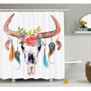 Feather Shower Curtain Native American Symbol In Watercolor Style Bull Skull With Ornaments Vibrant Image