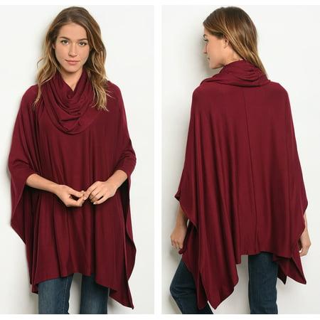 JED FASHION Women's Cowl Neck Soft Knit Tunic (Soft Knit Tunic)