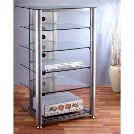 VTI RGR Series 6 Shelf Audio Rack-Black Frame / Clear Shelves