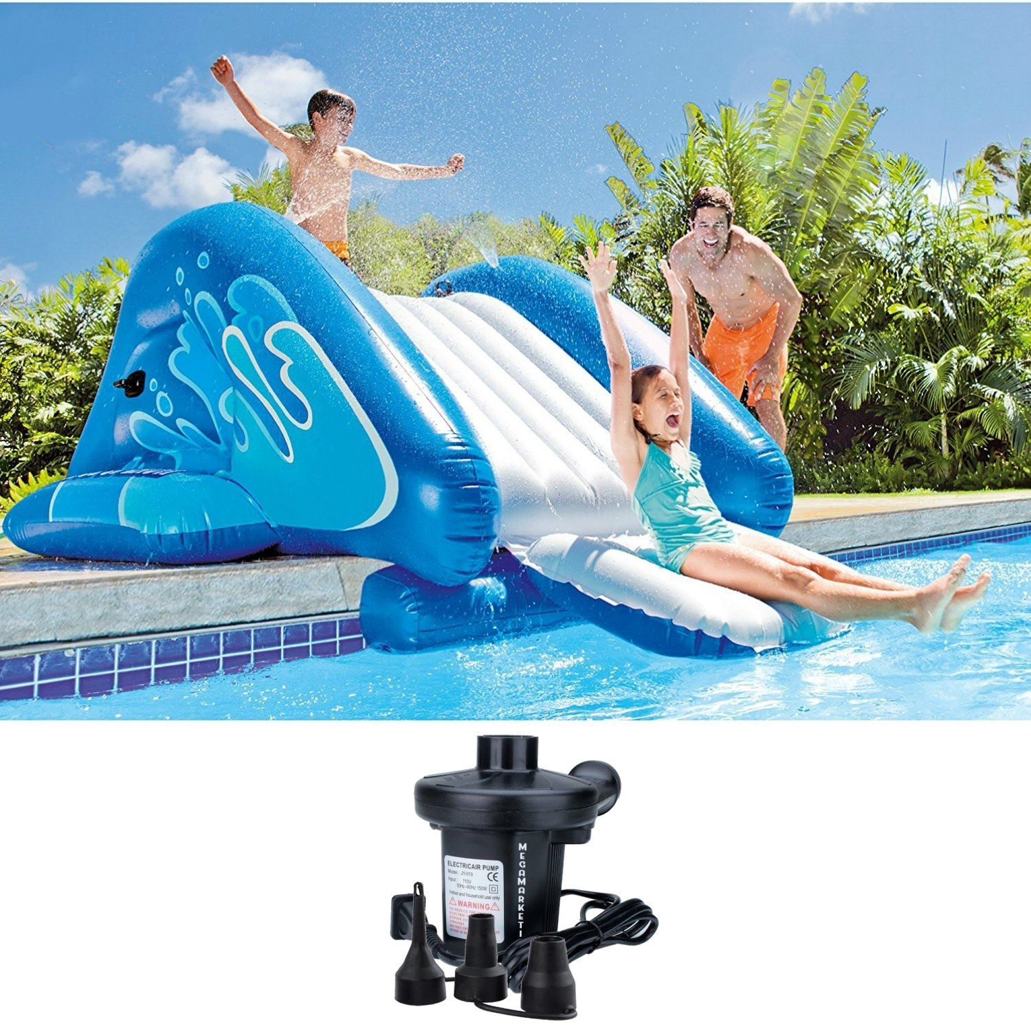 Click here to buy Intex HUGE Inflatable Swimming Pool Waterslide Play Center with Water Sprayer and Electric Air Pump by Quality Brand.