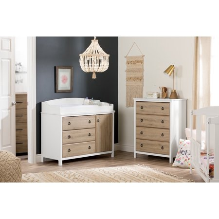 South Shore Catimimi Baby Dresser and Changing Table with Removable Top, Rustic Oak