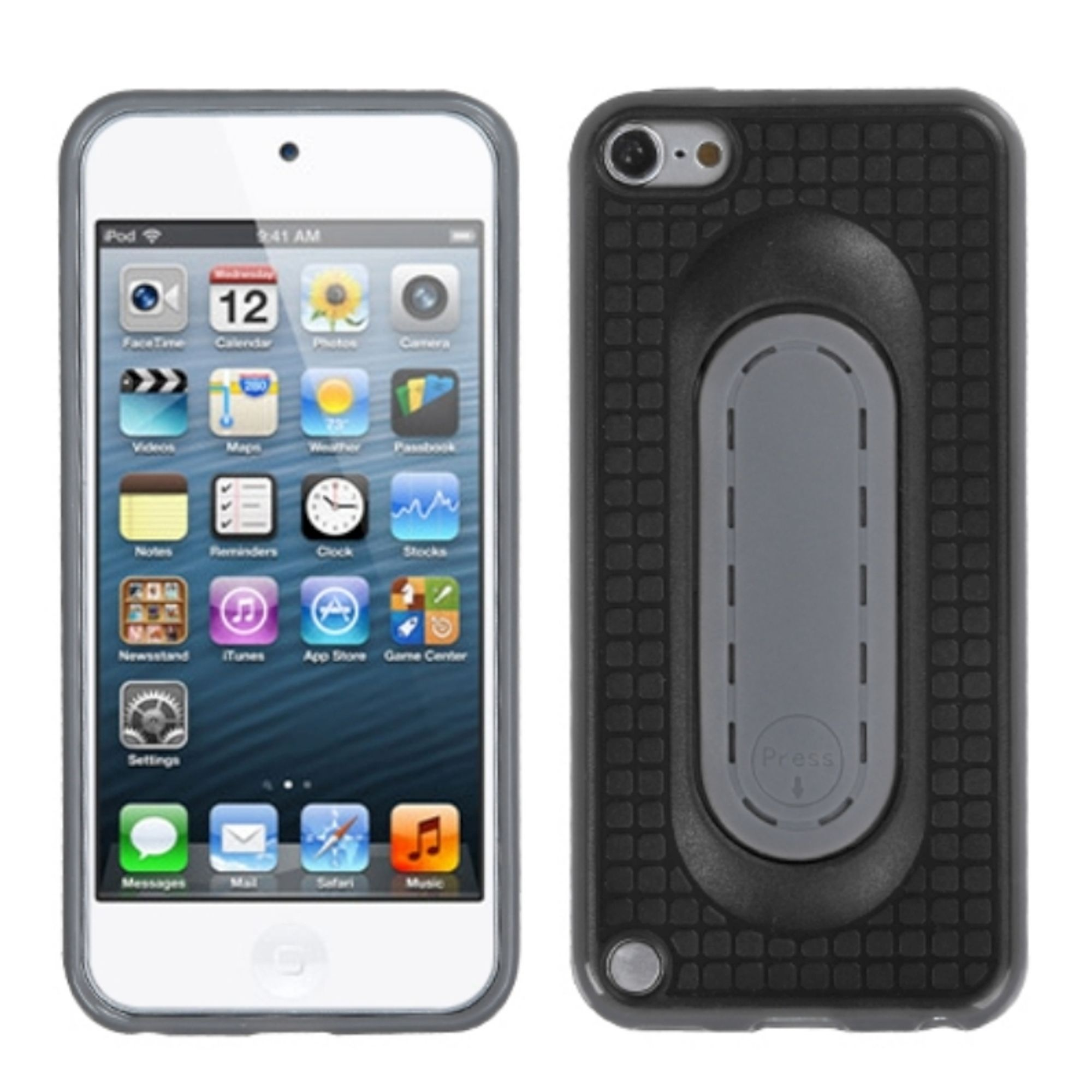 Insten Black Snap Tail Stand Case for iPod touch (5 5G 5th 6 6G 6th Gen)