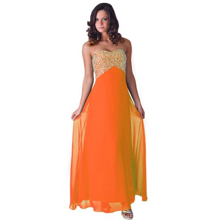 Faship Womens Crystal Beaded Full Length Evening Gown Formal Dress Orange -