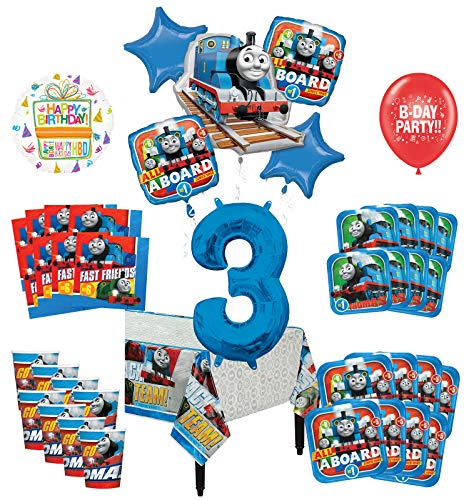 Mayflower Products Thomas The Train Tank Engine 3rd Birthday Party Supplies 8 Guest Decoration Kit and Balloon (Thomas The Tank Engine Birthday Party Supplies)