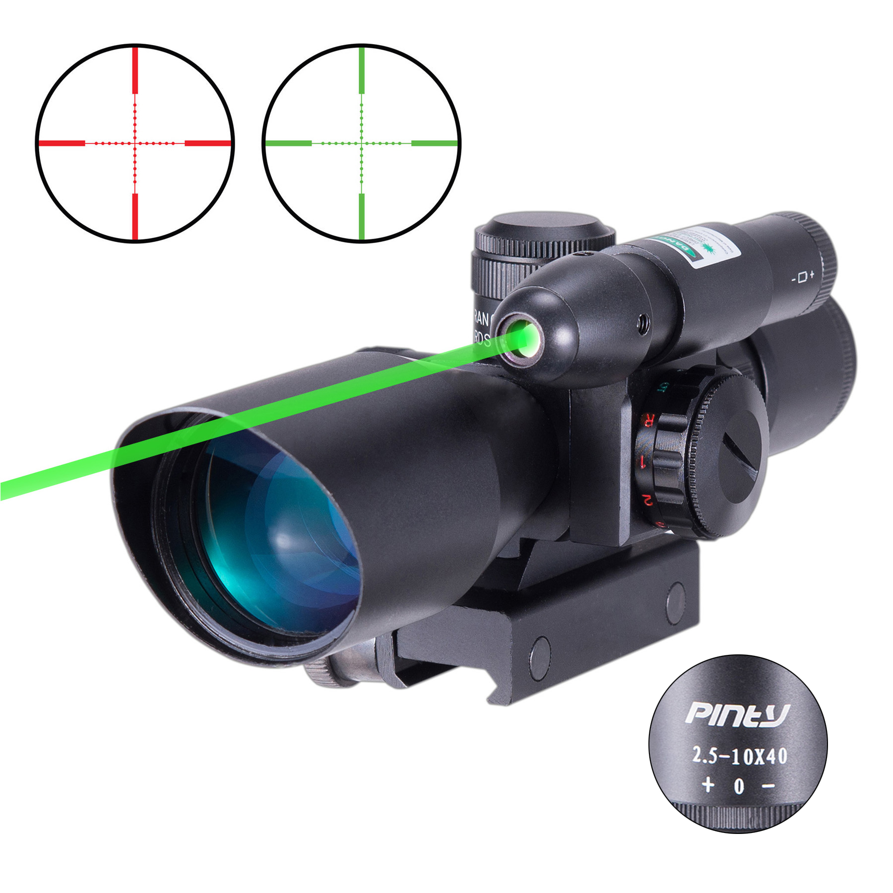 Pinty 2-in-1 Combo 2.5-10x40 AOEG Illumination Tactical Mil-dot Riflescope with Green Laser Red Dot sight and 20mm Mount Rails