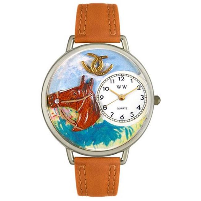 Whimsical Watches U0110005 Horse Head Tan Leather And Silvertone Watch
