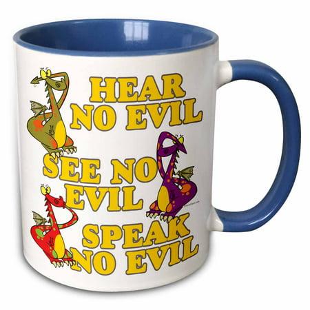 3dRose Hear See Speak No Evil Dragons Cartoon - Two Tone Blue Mug, 11-ounce](Hear See Speak No Evil)