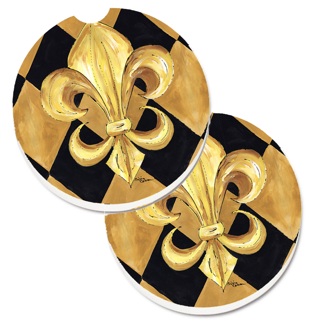 Black and Gold Fleur de lis New Orleans Set of 2 Cup Holder Car Coasters 8125CARC