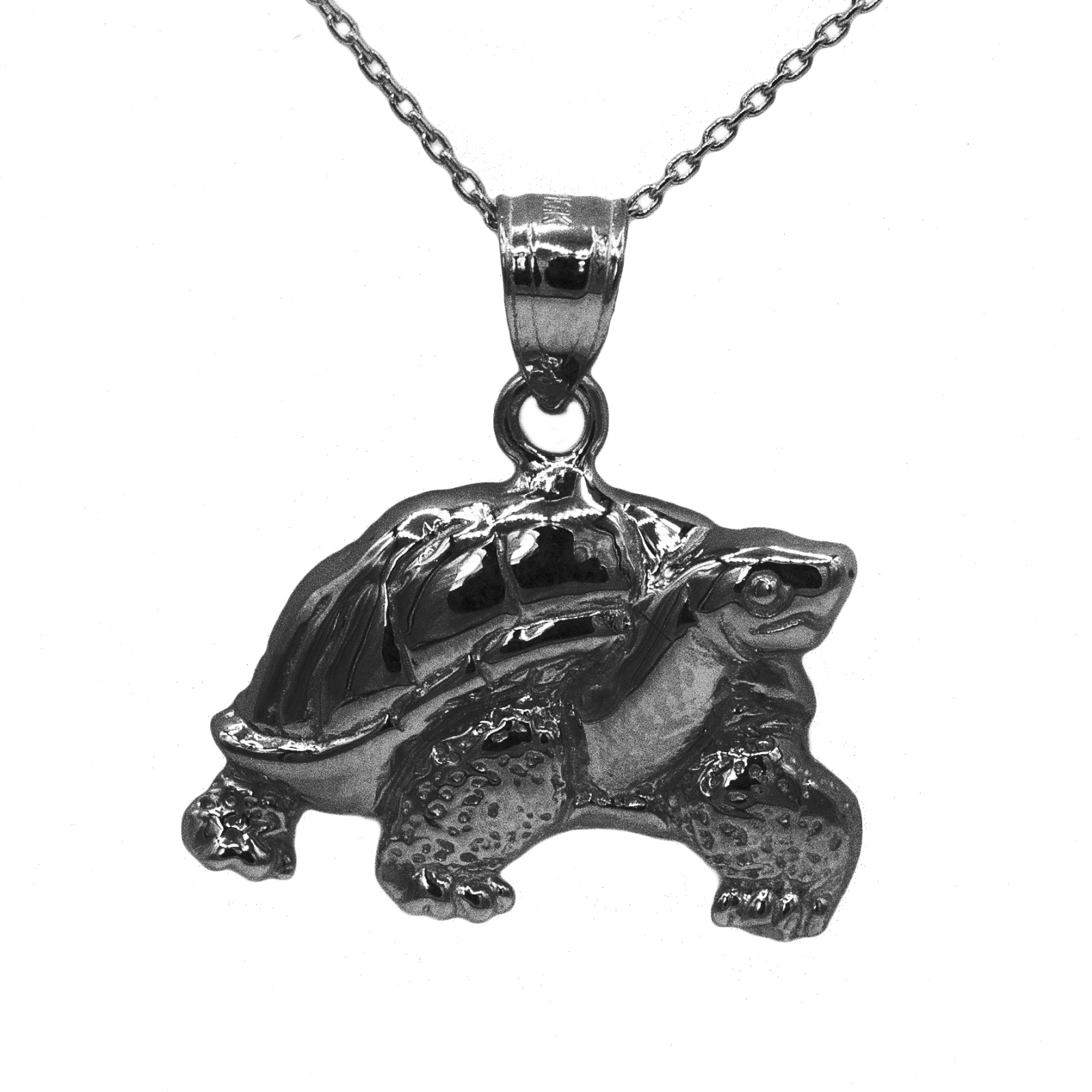 "925 Black Rhodium Sterling Silver Turtle Penadnt with 16"" Chain"