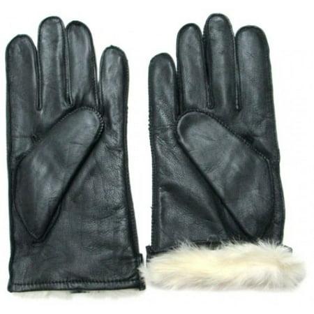Fownes Men's Rabbit Fur Lined Black Napa Leather Gloves-Medium