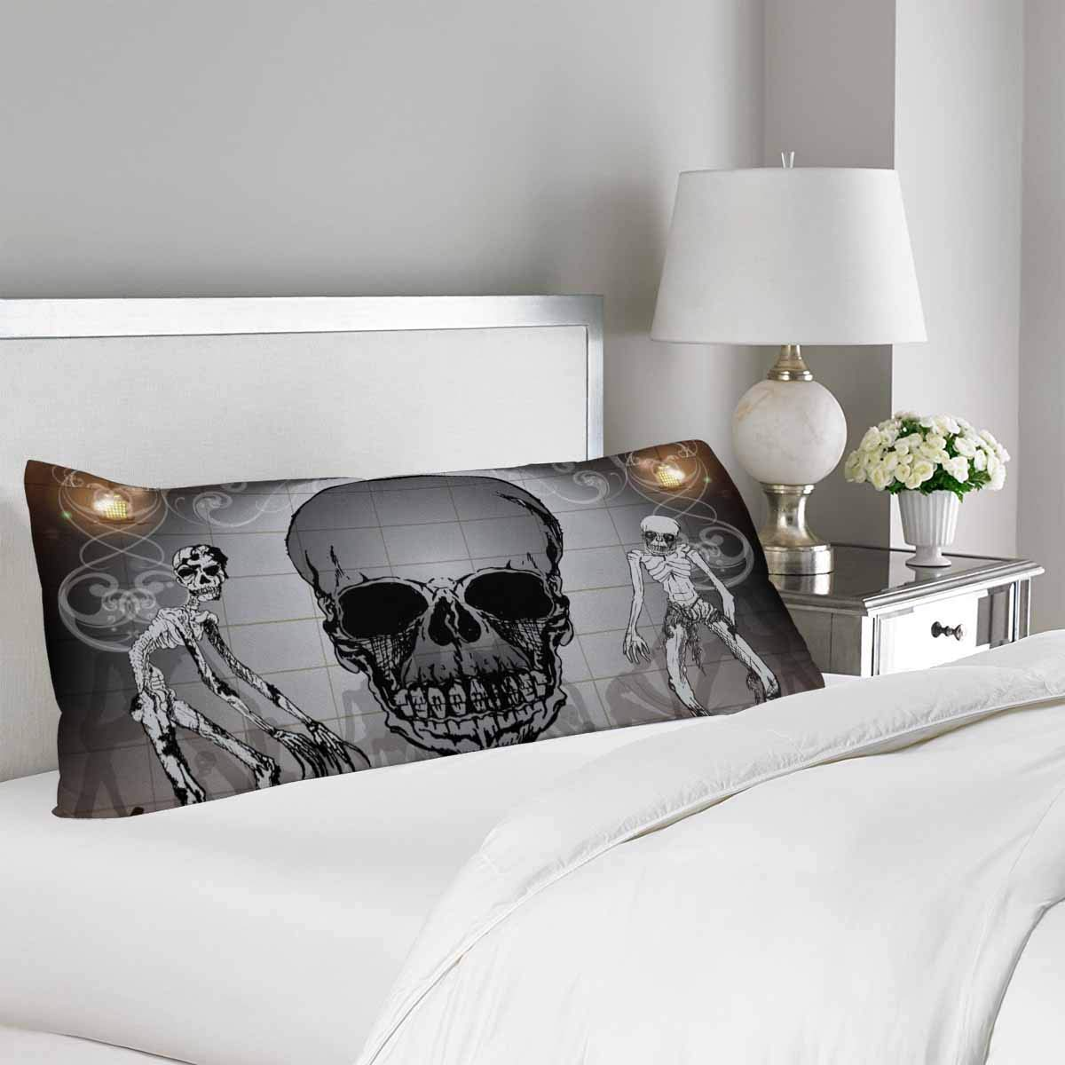 GCKG Halloween Skull Sketch Pattern Body Pillow Covers Case Protector 20x60 inches - image 1 of 2